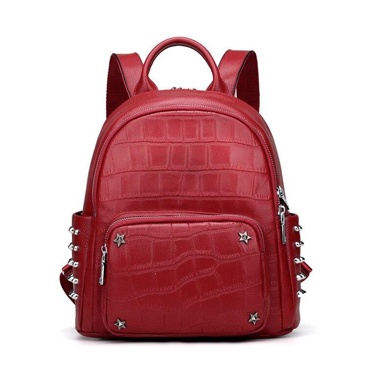 Caker Brand 2018 Women Genuine Leather School Bags Backpack Fashion Red  Black Alligator Leather Rivet Travel Backpacks For Girls f023503e1d2c9