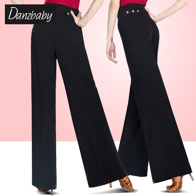 New Style Of Adult Female Latin Dance Performance Trousers Women Black Ballroom Dance Practice Wide Leg Straight Long Pants H709