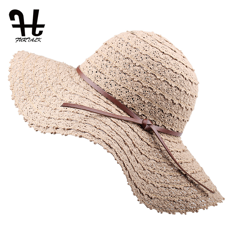 FURTALK Cotton sun hats for Women Beach Sun Hat Straw Hat