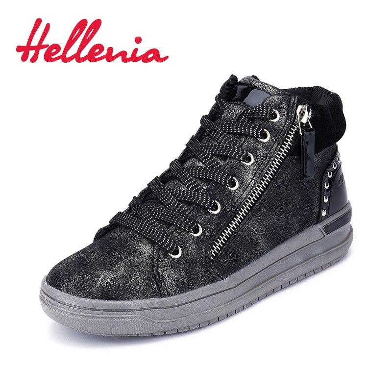 2018 miúdos novos ankle boots para meninas zip rebite Crianças sapatos da moda sapatos de couro PU Primavera/Outono preto cinza tamanho 31-36 Hellenia
