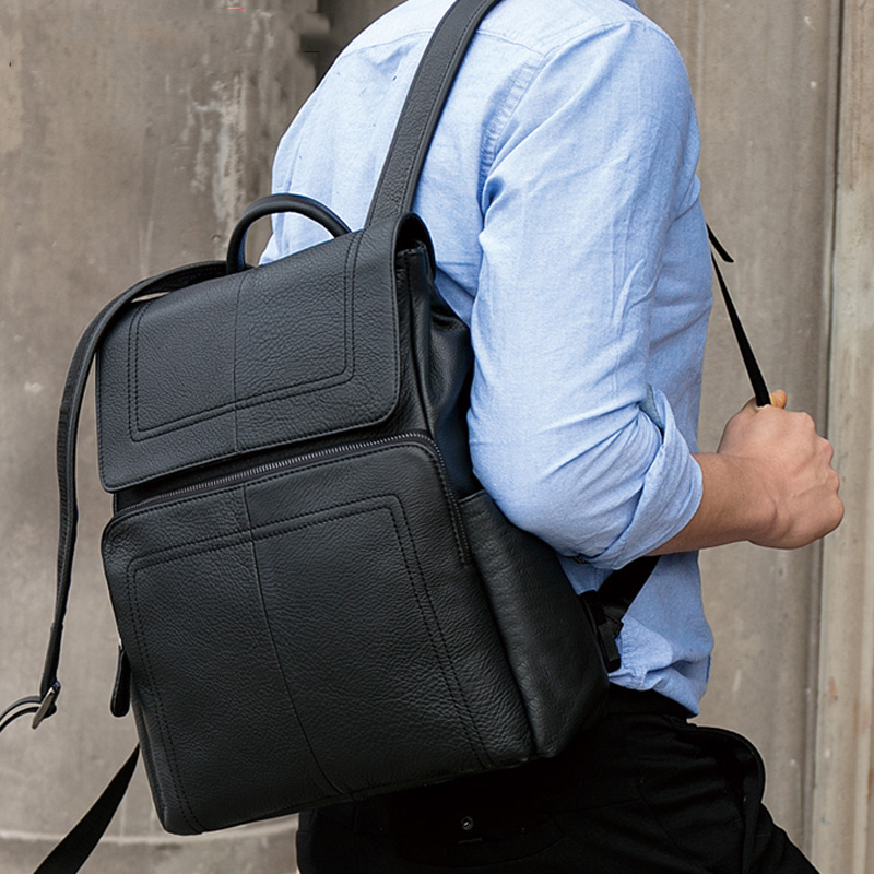 TOP QUALITY Men Backpack Genuine Leather Business Casual Backpack Travel Bag Large Capacity Schoolbags 14 inch Laptop Backpack