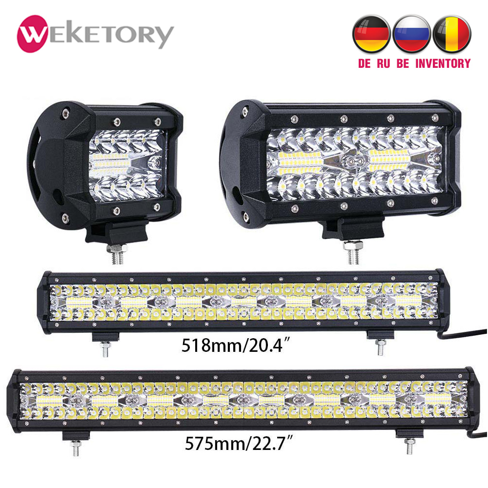 Weketory 4 7 20 De 23 pulgadas, 3 filas de barra LED de trabajo LED barra de luz para Tractor Boat OffRoad 4WD 4 4x4 camión SUV ATV conduciendo de la motocicleta 12 V