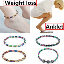 Weight Loss Hematite Magnet Anklet Colorful Stone Magnetic Therapy Bracelet Chain Anklet Weight Loss Product Body Slim Jewelry(China)