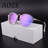 AOZE Luxury Brand Design High Quality Retro Polarized Purple Sunglasses Men Women Outdoor Round Driving Sun