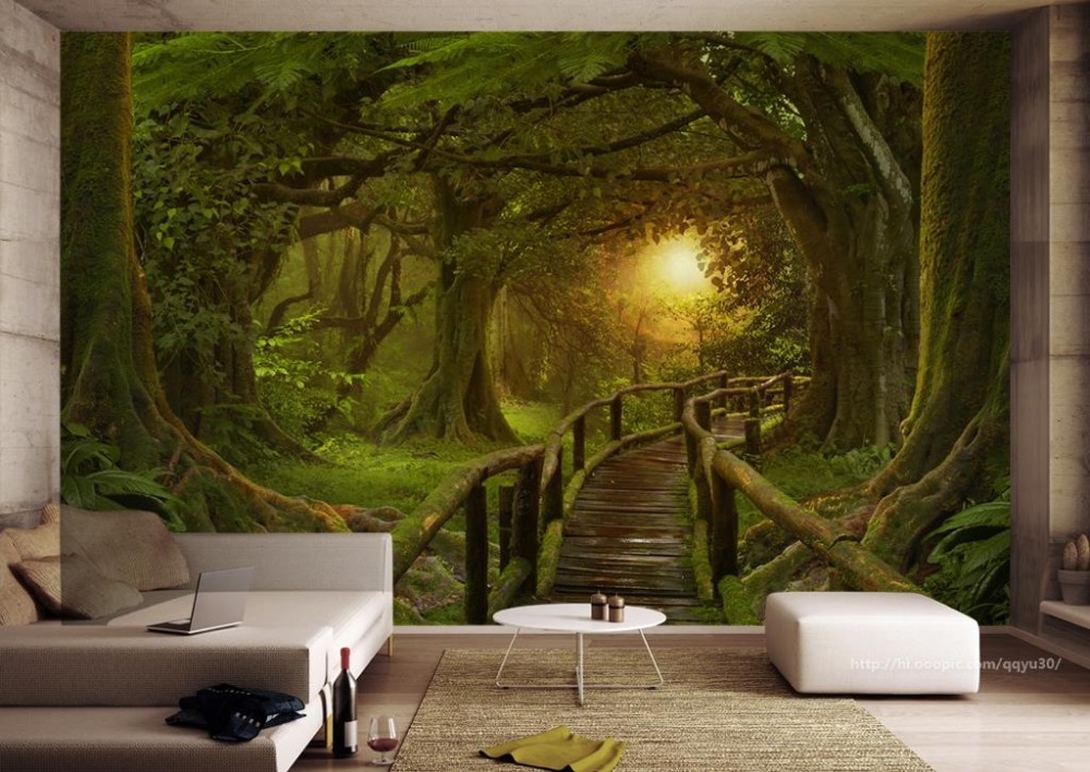 papel de parede Customize Any 3D Wall Murals Wallpaper Forest plank road Farmhouse style 3D TV ...