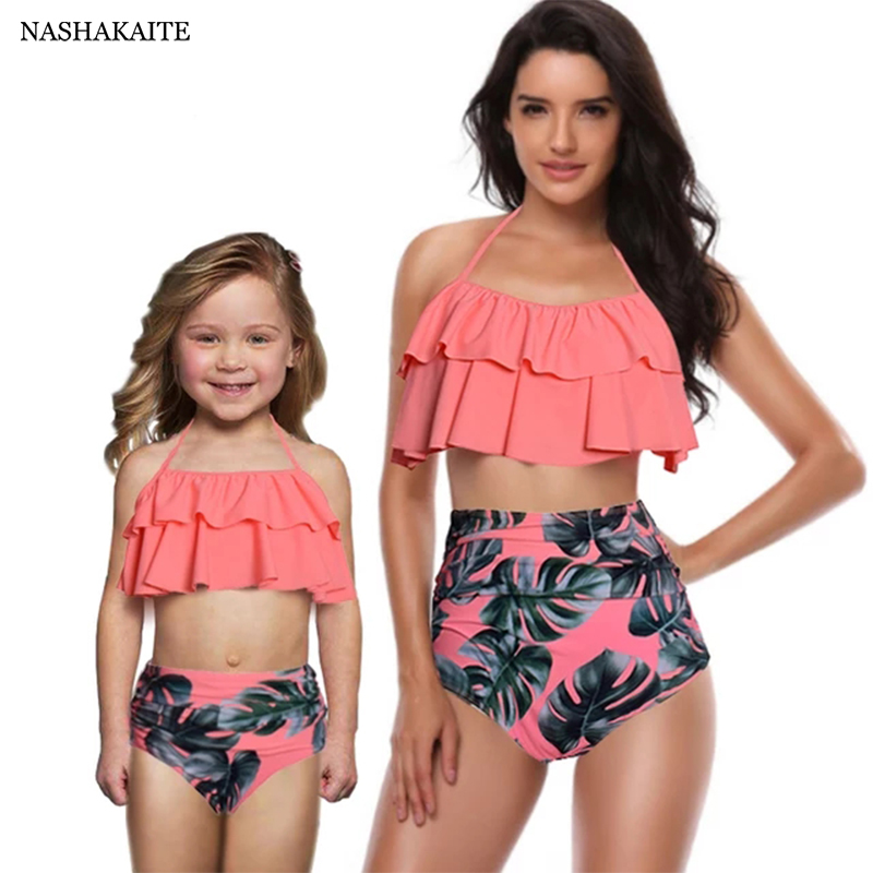 NASHAKAITE Mommy And Me Swimsuit Leaf Print Ruffled Mother Daughter Matching Swimsuits Summer Bikini Mae E Filha Family Swimwear(China)