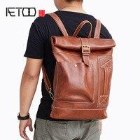 BJYL новая кожаная мужская сумка модная повседневная из воловьей кожи рюкзак большой емкости ретро