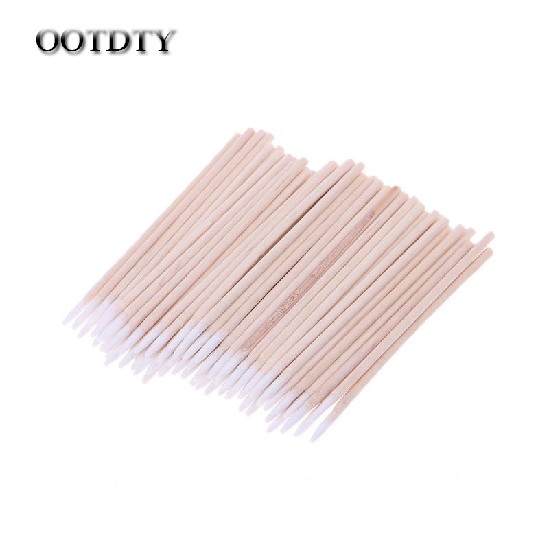 OOTDTY 100pcs/pack Cotton Swabs Cleaning Tools For IPhone Samsung Huawei Charging Port Headphone Hole Cleaner Phone Repair Tools