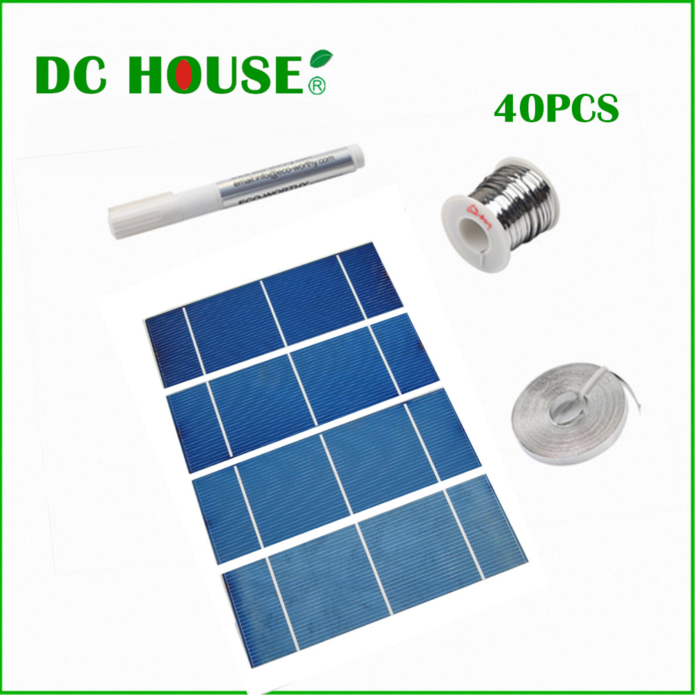 40pcs 17.6% Efficiency Solar Cell 2X6 for DIY Cell Solar Tab Wire Bus Wire Flux Pen with CE Certificate Solar Generators