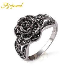 Женское кольцо с черной розой ajojewel Винтажное в стиле ретро