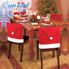1Pcs Fashion Santa Clause Red Hat Chair Back Cover Christmas Dinnertable Festival Party