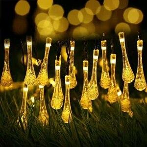Image 1 - 7 m 50led luz de fadas led solar powered gota de água luzes da corda festa de natal casamento festival ao ar livre indoor decotion