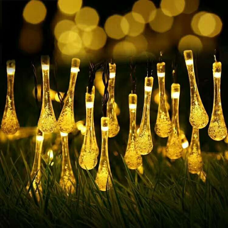 7M 50LED Fairy Light LED Solar Powered Water Drop String Lights Wedding Christmas Party Festival Outdoor Indoor Decotion