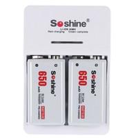 2pcs Set Soshine 9V 6F22 650mAh Li Ion Rechargeable Battery 9V Smart Charger With LED Indicator