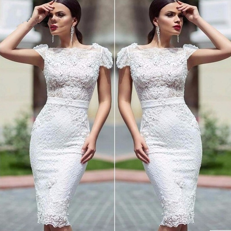 high-fashion-long-Cocktail-Dresses-White-Elegant-Mermaid-Lace-Flowers-Party-Gowns-Short-Dress-2016-evening