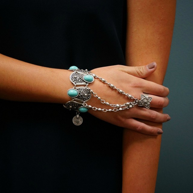 Bohemian Silver Coin Charm Slave Bracelets For Women Floral Blue Gem Beads Bracelet Gypsy Ethnic Tribal Festival Jewelry Turkish