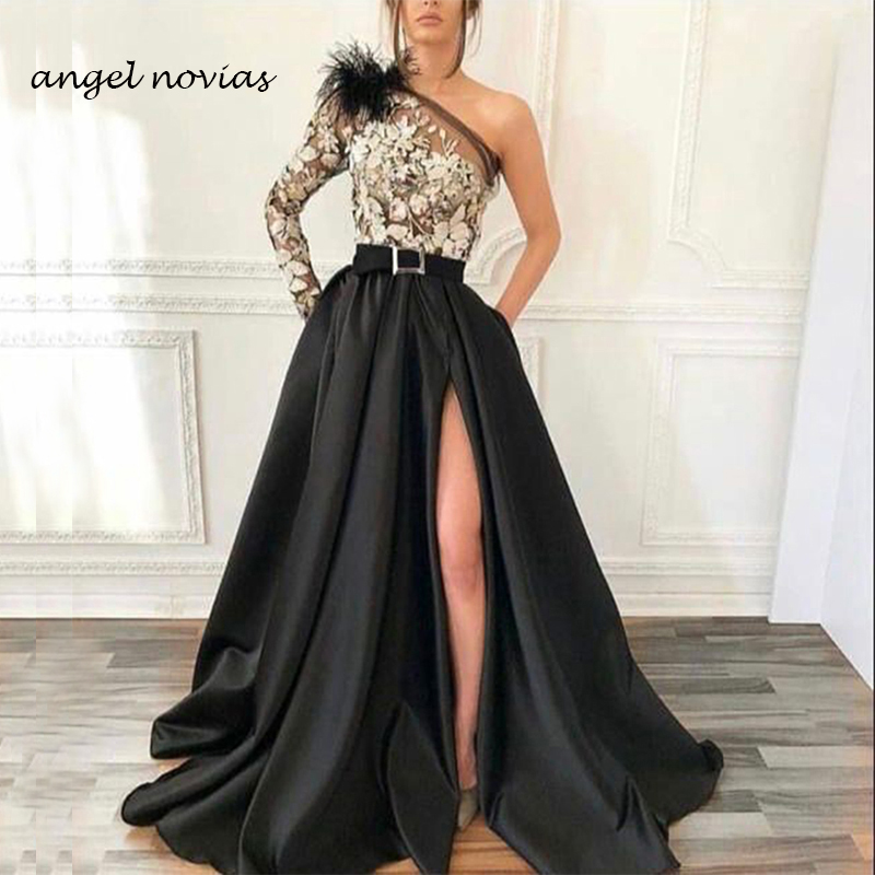One Shoulder Long Sleeves Black Satin Abendkleider Dubai Arabic   Evening     Dress   2019 Robe De Soiree Long with Slit