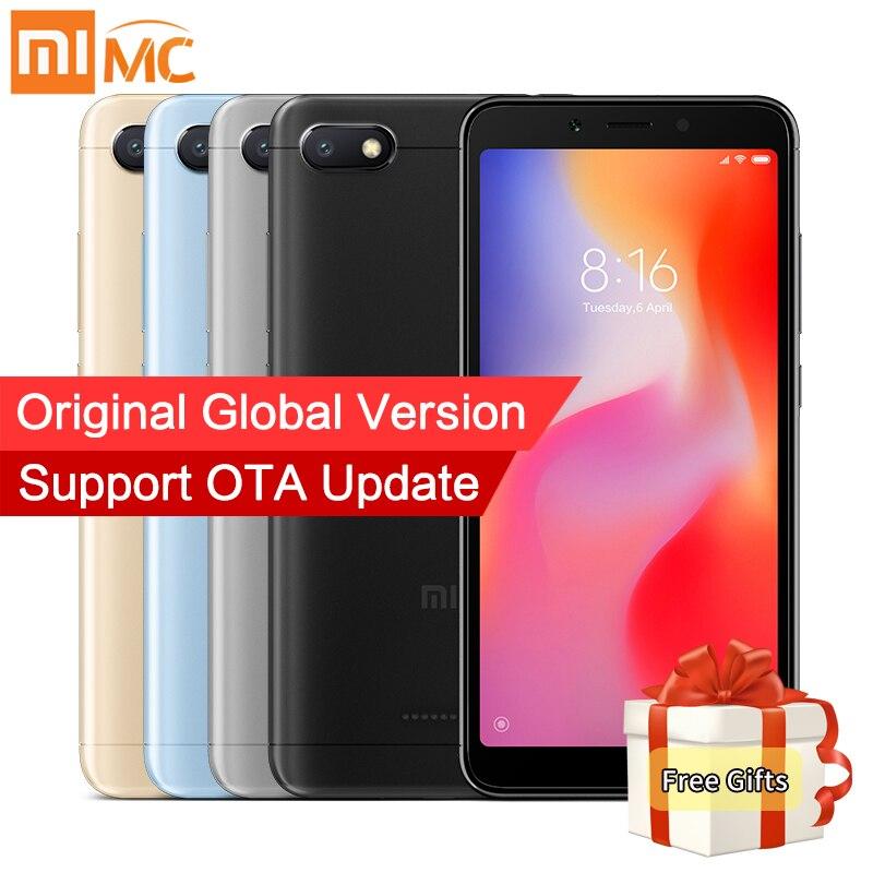 Em Estoque Global Versão Xiaomi Redmi 6A 2 gb Helio A22 16 gb Smartphones MTK Quad Core 5.45 18:9 tela cheia Câmera Android 8 13MP