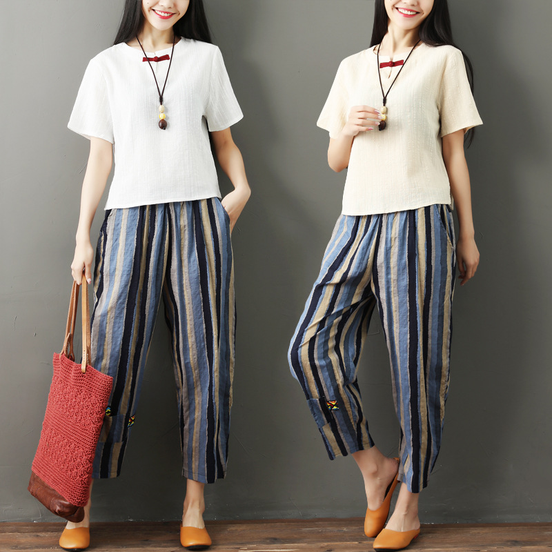 National wind striped cotton and linen nine pants women 2019 new literary large size female pants loose high waist harem pants 3