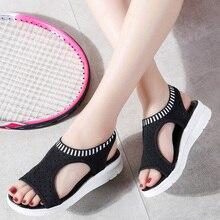 358ded690e 2019 Mulheres Sandálias de Cunha de Verão Malha Respirável Sapatos Femininos  Peep Toe Senhoras Sólida Slip