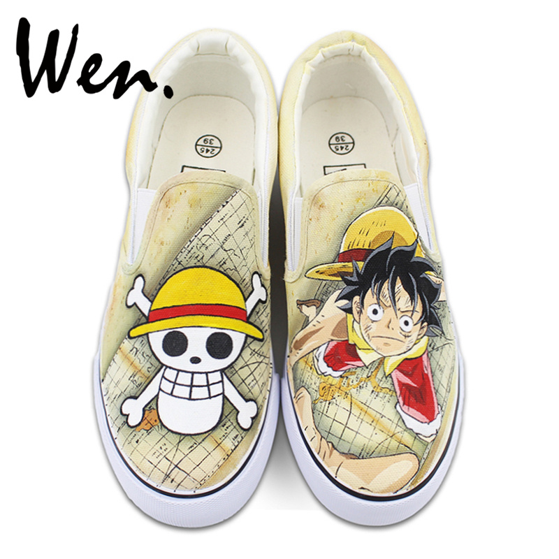 Wen One Piece Luffy Jolly Roger Design Custom Anime Hand Painted Shoes Slip On Unisex Canvas Sneakers Birthday Gifts wen hand painted shoes design custom skull zombie men women s high top canvas sneakers for christmas gifts