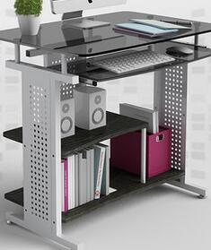 Home computer desk. Table land toughened glass small 80 cm