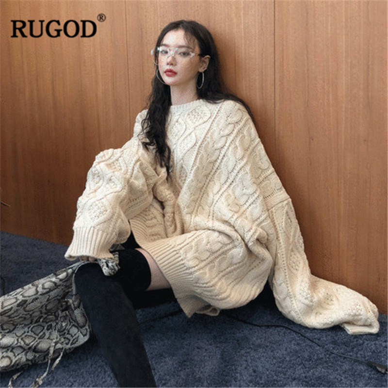 RUGOD Sweater Women Fashion Winter Female Knitted Batwing Sleeve Plus Size Streetwear Sweaters And Pullovers Pull Femme Hiver