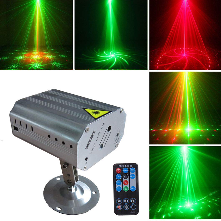 Mini R&G 24 Patterns Laser Projector Lights Sound Activated Dance Disco Bar Family Party Holiday Xmas Stage Lighting Effect