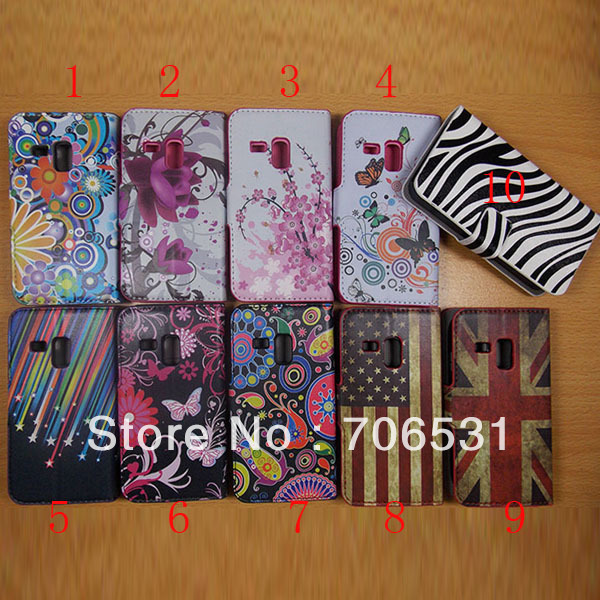 Two Card Holder Stand Wallet Leather Case for Samsung Galaxy S3 Mini i8190 With Flag, Flower, Zebra Pattern
