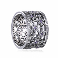 Authentic 925 Sterling Silver Ring Forget Me Not Flower With Crystal Rings Band For Women Wedding