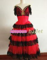 Spanish Bullfight Dance Dress Red Girls Giselle Ballet Tutu Dress Romantic Don Quixote Ballet Dress Professonal