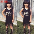 2017 New Girls Tassel Dress Black Letter Girl Party Dresses Kids Cotton Tank Dresses Summer Beach Dresses Baby Clothes SYHB22205