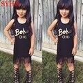 2017 Nuevas Muchachas Vestido de La Borla de Negro Carta Party Girl Vestidos Niños Vestidos Sin Mangas De Algodón Vestidos de Playa de Verano Ropa de Bebé SYHB22205