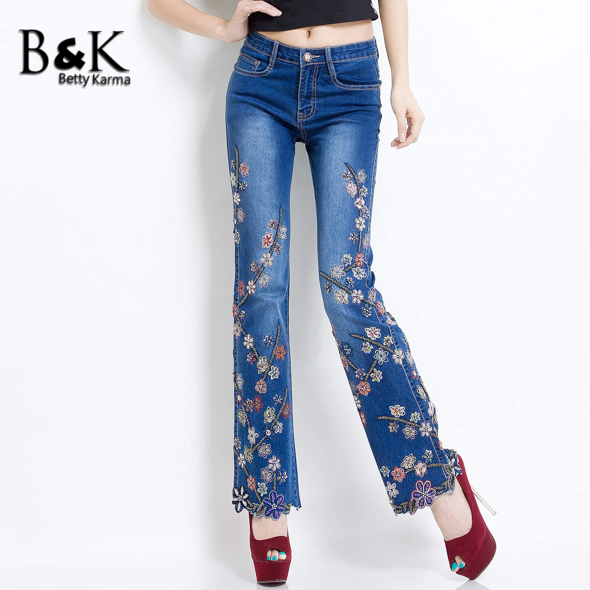Stretch Embroidered Jeans Woman With Elastic Flower Pattern Pantalon Jeans Femme Flare Denim Pants Plus Size High Waist Jeans