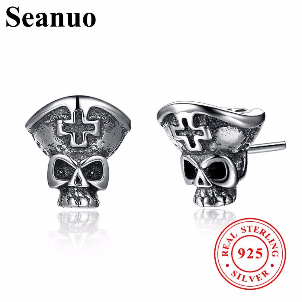 Seanuo Unique Skeleton Skull Real 925 Sterling Silver Push-Back Stud Earrings Men Bohemia Cross Women Wedding Cute Evil Earrings