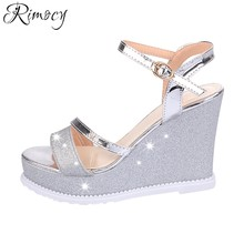 Rimocy super high heels wedge sandals women 2017 summer fashion silver gold  glitter ankle strap platform shoes woman pumps mujer b44bfd141ff5