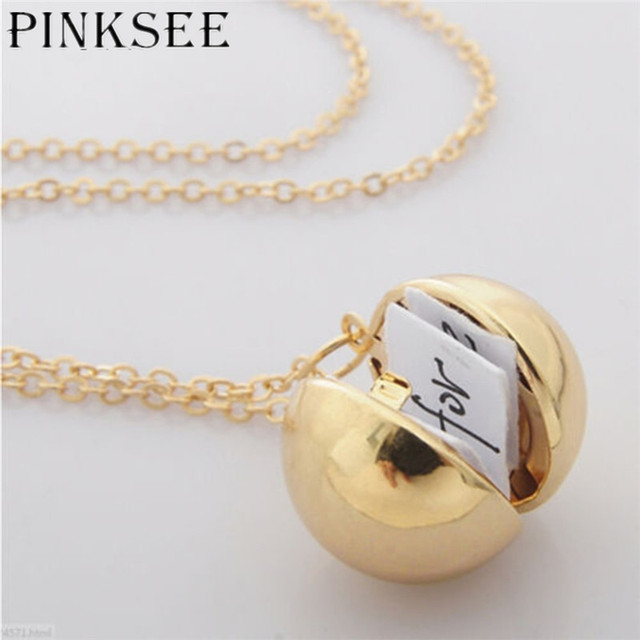 Pinksee 1 pc round gold ball pendant necklaces long chain statement pinksee 1 pc round gold ball pendant necklaces long chain statement necklace for women jewelry gifts aloadofball Images