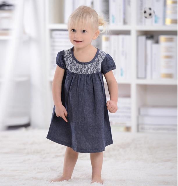 New Summer Dress Top Quality Girl Dress Denium Blue Lace Dress Cute Girl Clothes