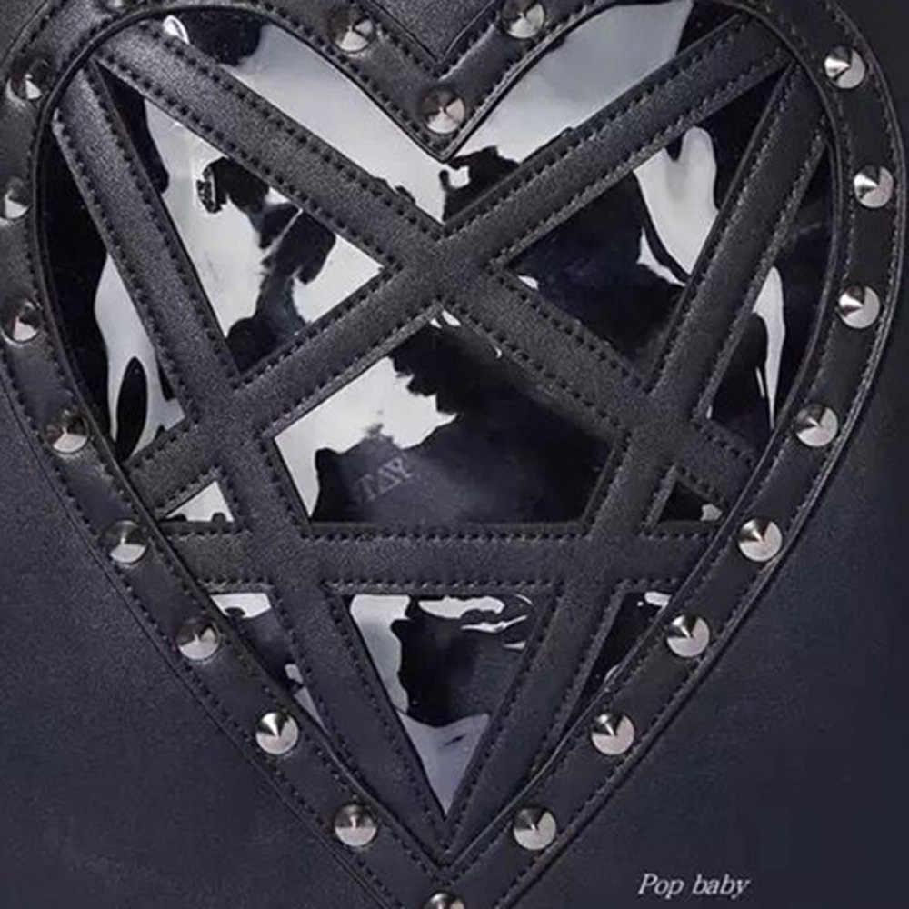 Rosetic Nữ Ba Lô Da PU Harajuku Gót Hình Trái Tim Đinh Tán Punk Pentagram Vừa Chất Lượng Tốt Đen Cổ Đá Túi