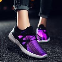 KRIATIV 7 Colors Flashing New Fiber Optic USB Recharging Luminous Sneakers LED Shoes Kids Children Slippers Tenis Light Up Shoes