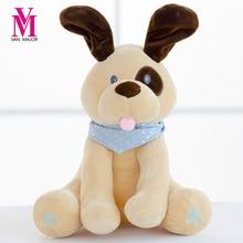 30cm Stuffed & Plush Animal Hot Peek A Boo Electric Puppy Dog Play Hide Seek Cute Cartoon Toys For Children Kids Birthday Gift