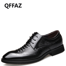 QFFAZ New shoes men business leather shoes Lace up Leisure men shoes Spring/Autumn crocodile oxfords hot sales dress men shoes