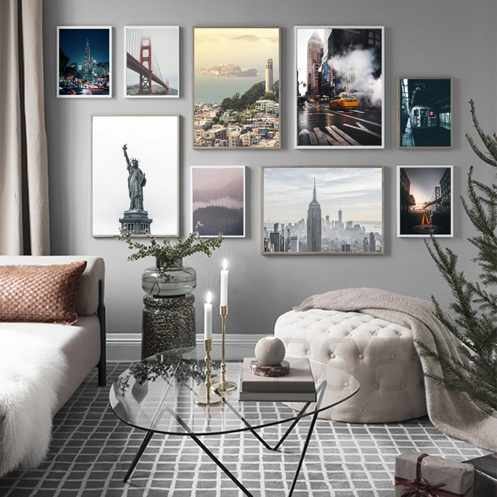 Forest Bridge New York City Landscape Wall Art Canvas Painting Nordic Posters And Prints Wall Pictures For Living Room Decor