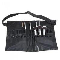 2017 Black Two Arrays Makeup Brush Holder Professional PVC Apron Bag Artist Belt Strap Portable Make