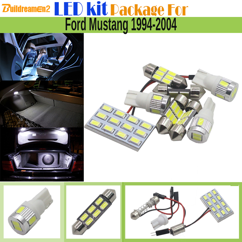 Buildreamen2 Car Interior LED Kit Package 5630 Chip LED Bulb White Auto Map Dome License Plate Light For Ford Mustang 1994-2004 car styling 13pcs excellent canbus led bulb interior dome map light kit package for volkswagen vw passat b6 2006 2010