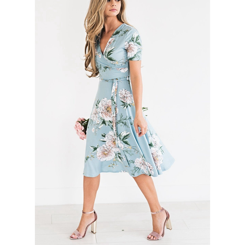 Hoe Sale 2018 Women's Summer Bohemian Floral V-Neck Loose Empire Fashion Casual Dress Sundress