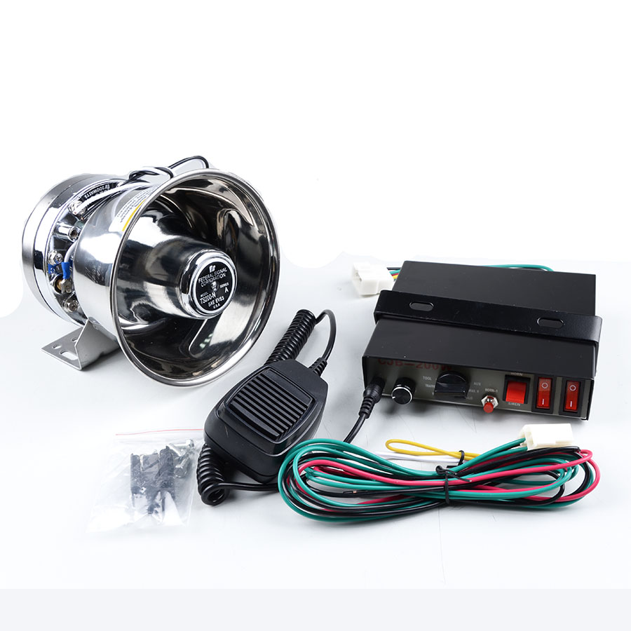 ФОТО 12V CJB 200W 9 tones  Automotive Police Siren Electronic Car Siren Amplifier with Sliver Stainless Steel Speaker Buzzer
