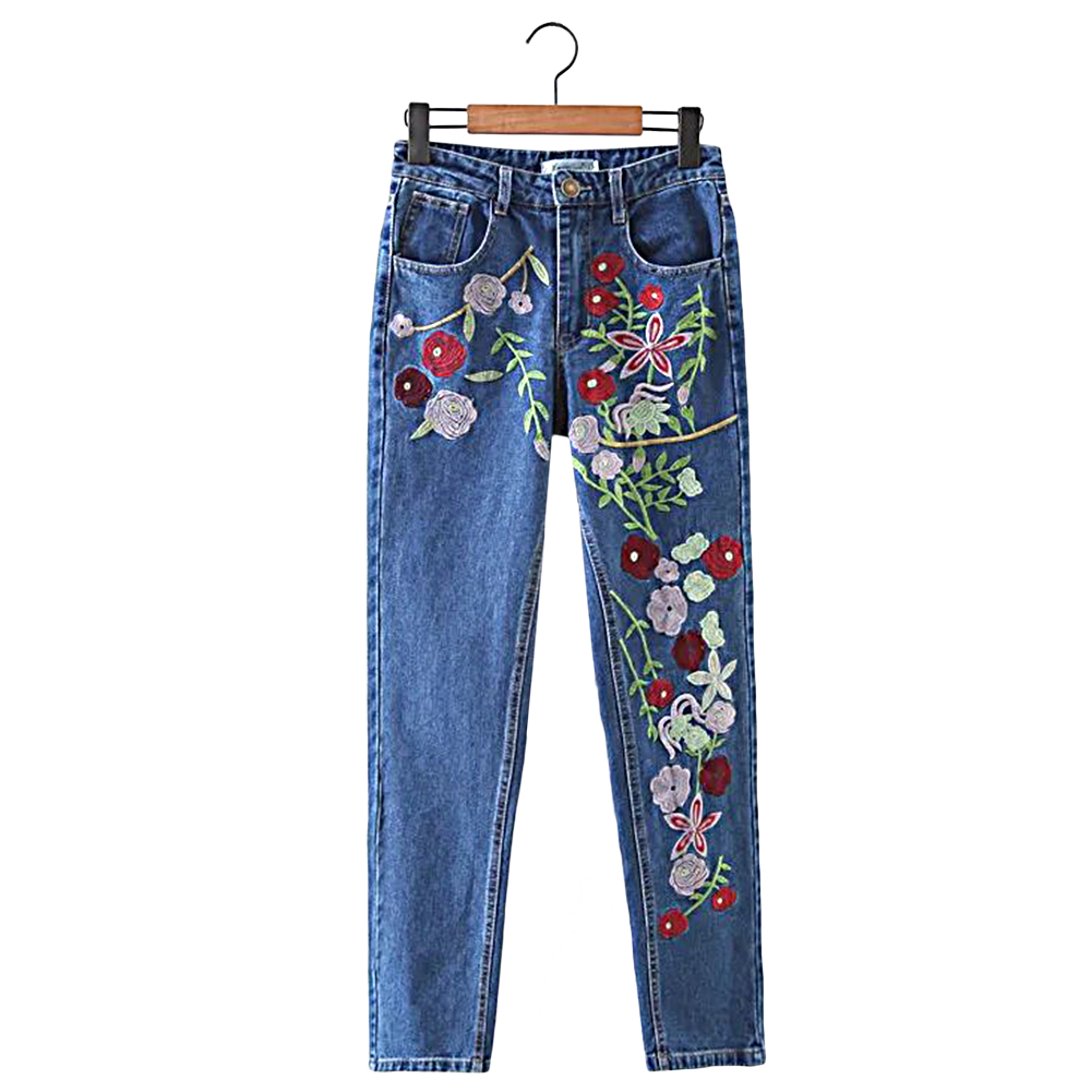 Real Photo 2017 Flower embroidery jeans female Light blue casual pants capris 2016 autumn winter Pockets straight Jeans Women flower embroidery jeans female light blue casual pants capris 2017 spring autumn pockets straight jeans women bottom