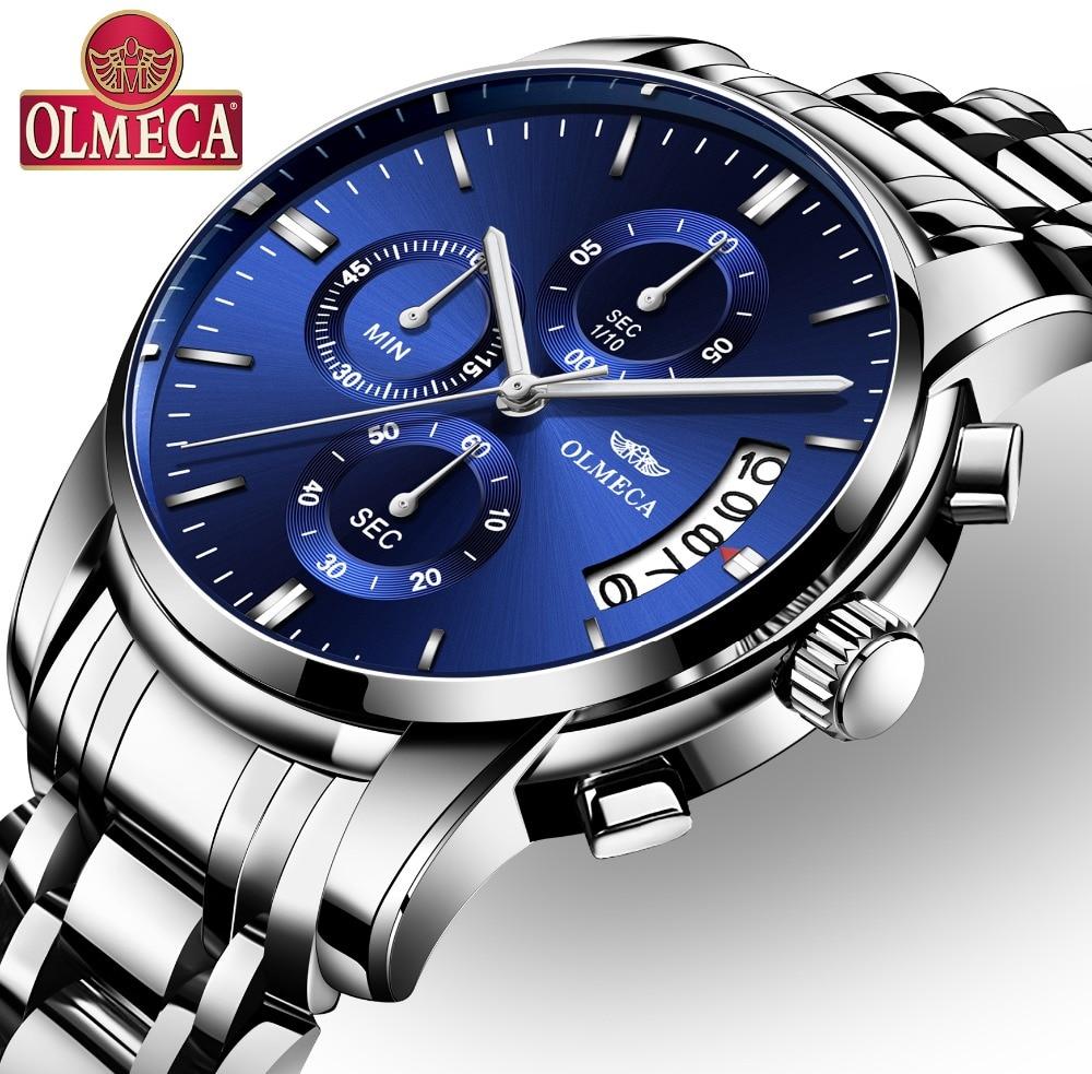 OLMECA часы Военная Униформа Relogio Masculino водостойкие часы нержавеющая сталь модные хронограф наручные часы для мужчин синий