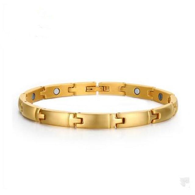 Stainless steel jewelry wholesale men 's popular 19CM gold magnet bracelet titanium steel bracelet jewelry